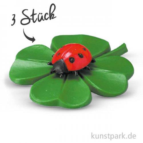 Kleeblatt mit Käfer, 33 mm, 3 Stück