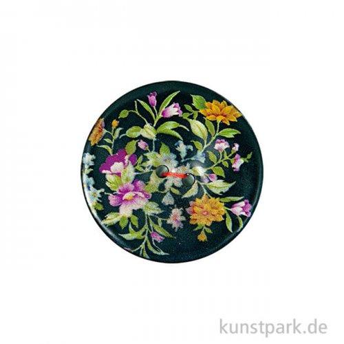 Knopf - Floral Schwarz