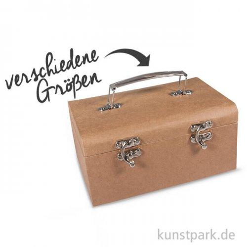 Koffer aus Pappmaché mit Metallgriff und -verschluss