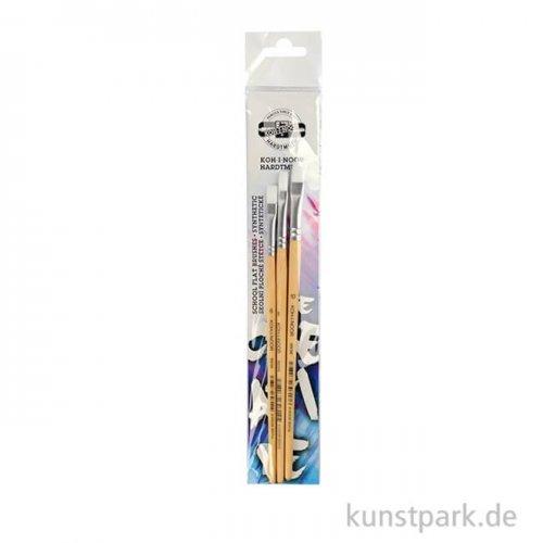 Koh-I-Noor Pinselset SYNTHETIC, 3 Flachpinsel, Größen 6, 8, und 10