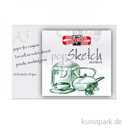 Koh-I-Noor - Pop Sketch Papier, 20 Blatt Weiß, 110g