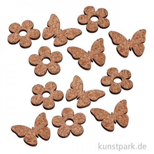 Kork-Blume und Kork-Schmetterling als Streudekoration, 12 Stück sortiert