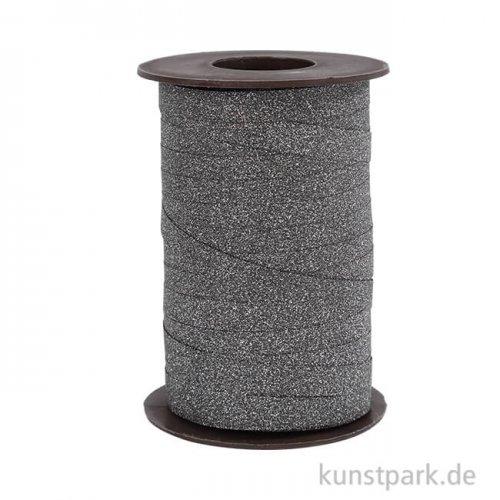 Kräuselband mit Glitzereffekt, 10 mm x 100 m Schwarz