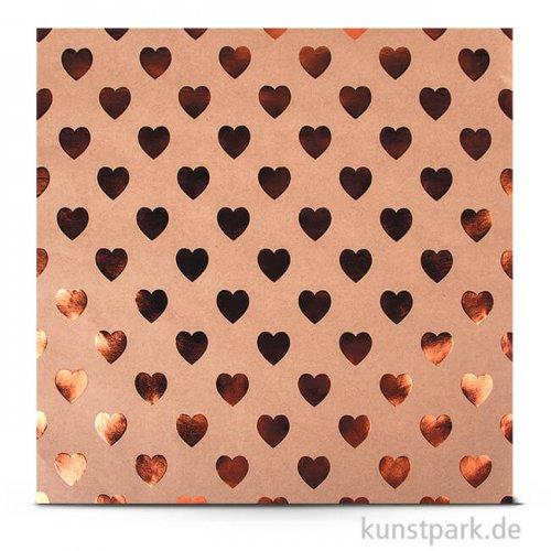 Kraft - Scrapbookingpapier, 180 g 30,5 x 30,5 cm | Herzen kupfer