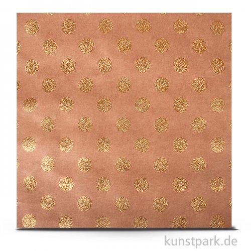 Kraft - Scrapbookingpapier, 180 g 30,5 x 30,5 cm   Punkte gold