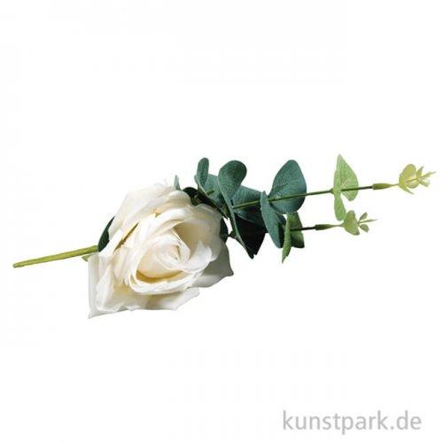 Kunstblume weiße Rose mit Eukalyptus, Länge 28 cm