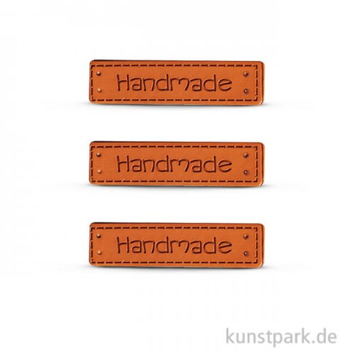Kunstleder Labels - Handmade, 4,9 x 1,5 cm, 3 Stück