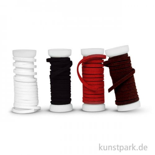 Kunstlederbänder-Set, 4x1,5m - farbig sortiert