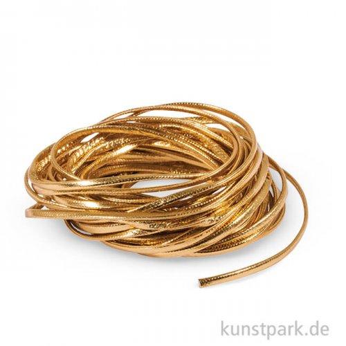 Kunstlederband flach, 2 mm, 5 m Gold
