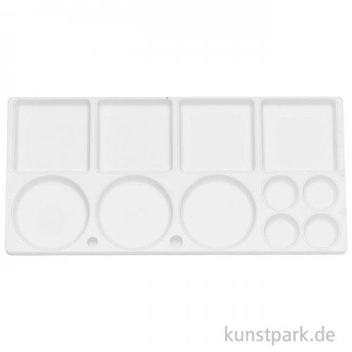 Mischpalette eckig aus weißem Kunststoff mit 11 Näpfen