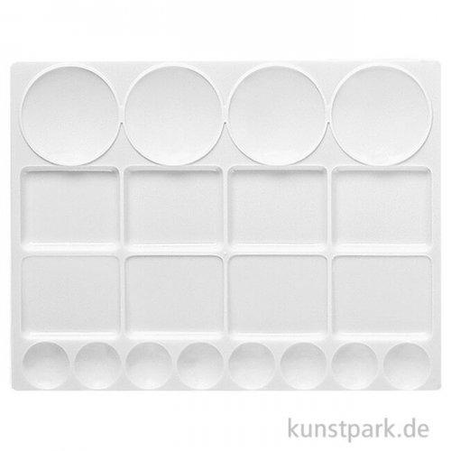 Eckige Palette aus weißem Kunststoff mit 20 Näpfen in Rund und Eckig