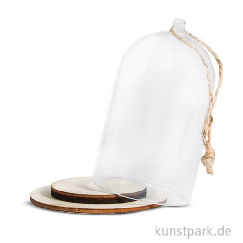 Kuppel aus Kunststoff mit Holzsockel