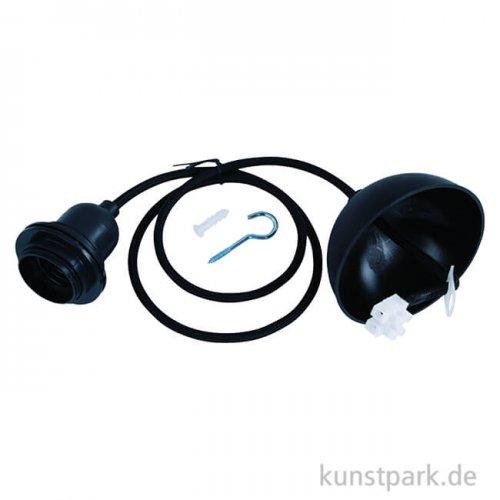 Lampenfassung Pendelleuchte - E27 Fassung, Schwarz, 100 cm