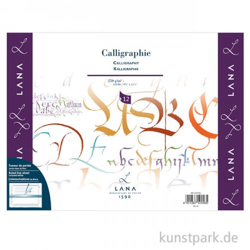 Lana CALLIGRAPHIE Kalligraphiepapier, 12 Blatt, 250g