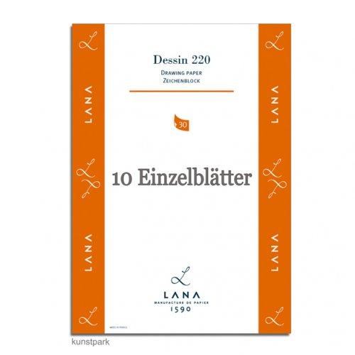 Lana DESSIN Zeichenpapier, 25 Einzelbogen Blatt, 220g, 50 x 65 cm