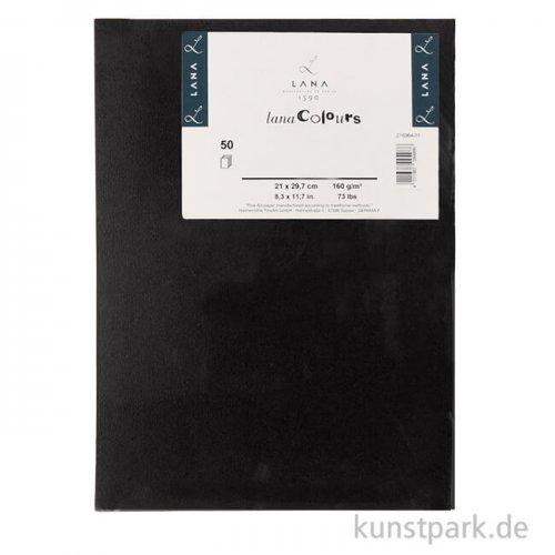 Lana COLOUR farbiges Papier, 50 Bogen, 160g, DIN A4 DIN A4 | 160 - Schwarz