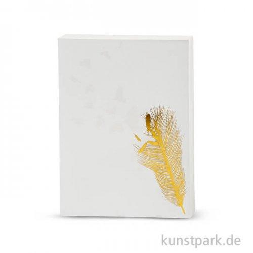Leinwand für Aquarellfarbe - Federn, bedruckt mit Goldmotiven, 20,3x25,4 cm