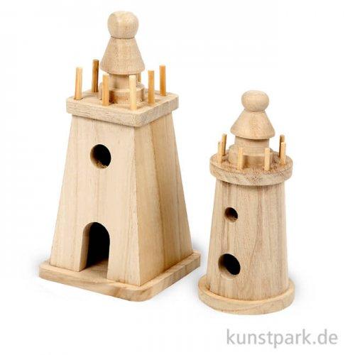 Leuchtturm aus Holz, 2 Stück sortiert