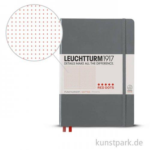 Leuchtturm Notizbuch Hardcover - Grey - Red Dotted, Medium A5, 249 Seiten