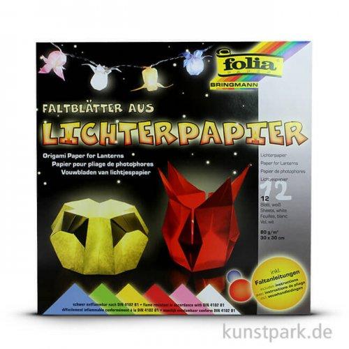 Lichterpapier 30x30 cm, 12 Blatt, 80g - farbig sortiert