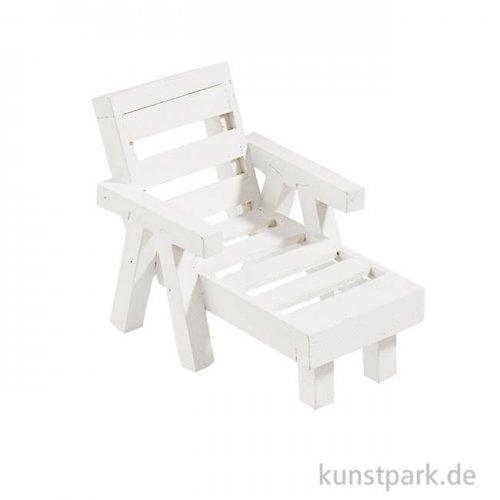 Mini Liege aus Holz - Weiß, ca. 8x5x5,5 cm