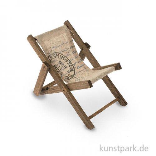 Mini Liegestuhl aus Holz - Braun, 19,5x10x1 cm