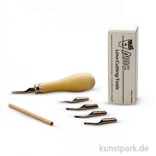 Linolschnitzwerkzeug, 5 Messer und Holzgriff im Kästchen