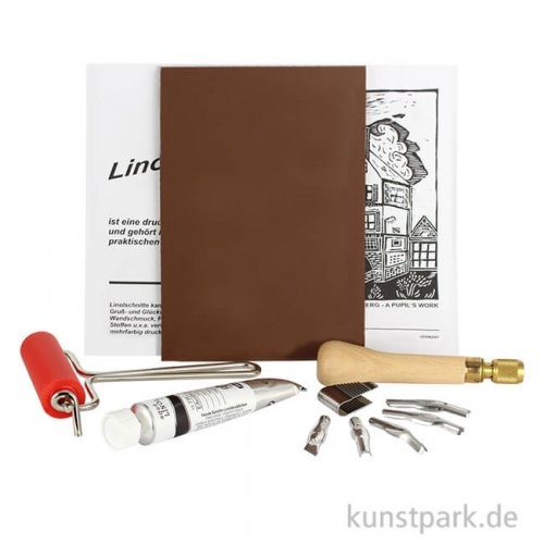 Linolset mit Griff, Linolplatte, Walze, Farbe und Werkzeugen