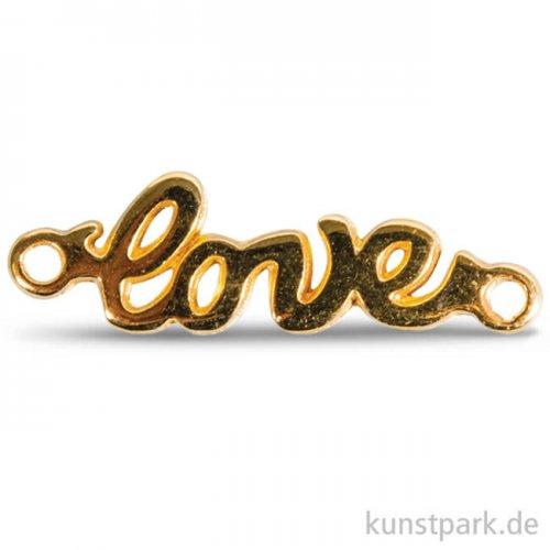 Love Metall-Anhänger mit Ösen, 15 mm, 1 Stück Gold