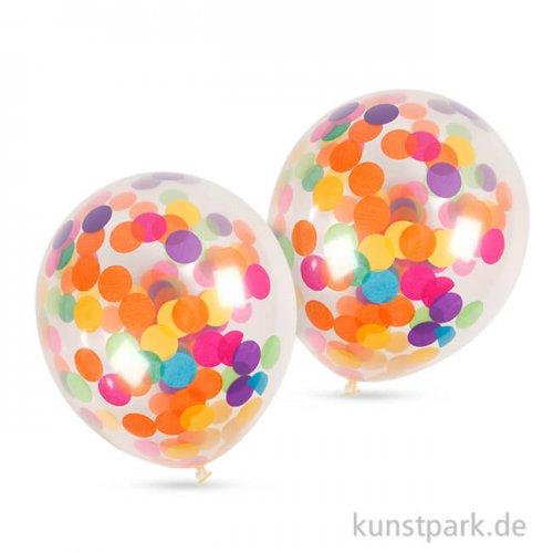 Luftballons mit Konfetti rund, Größe 23 cm, 4 Stück