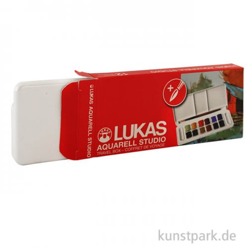 Lukas STUDIO Aquarellfarbe Travel-Box mit 12 halben Näpfen