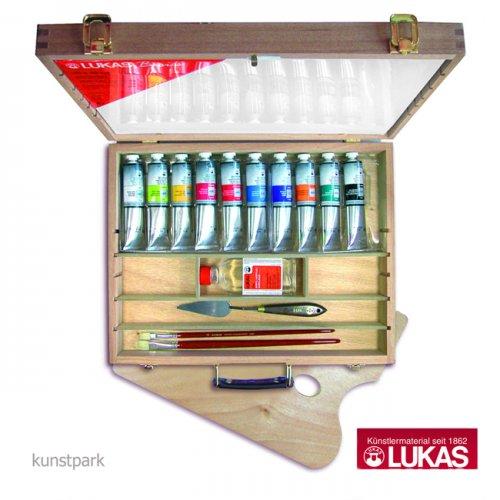 LukasCryl STUDIO Holzkasten 10 x 75 ml, Keilrahmen, Pinsel und Zubehör