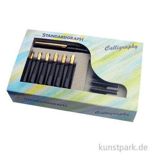 Luxus Kalligrafie-Set mit Füller und 6 verschiedenen Bandzugfedern