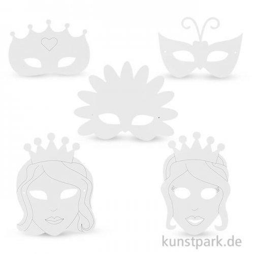 Märchen-Masken aus weißem Karton mit Gummiband, 16 Stück