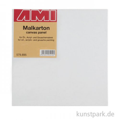 Eckiger Malkarton mit Maltuch bespannt 40 x 40 cm