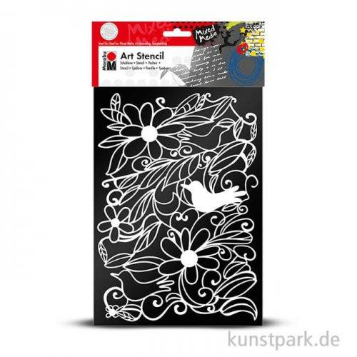 Marabu Mixed Media ART STENCIL DIN A4 - Blooming Garden