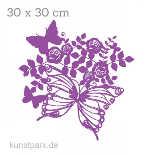 Marabu Schablone Silhouette 30x30 cm - Butterfly & Roses