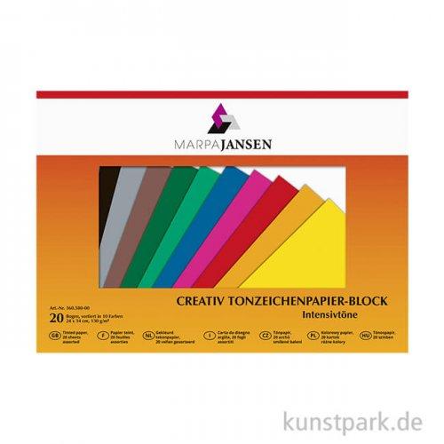 Marpa Jansen Tonzeichenpapier 10 Intensivtöne 24x34 cm 20 Blatt