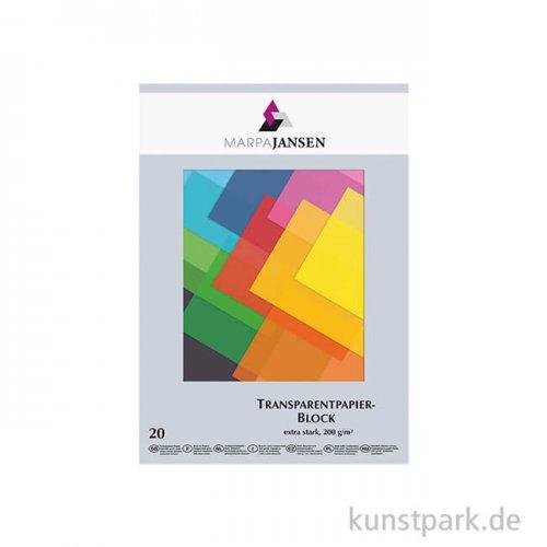 Marpa Jansen Transparentpapier farbig sortiert, 20 Blatt DIN A4