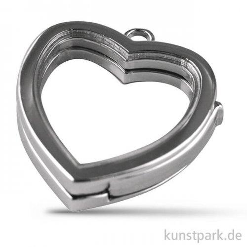 Medaillon Herz mit Öse- Silber, 25 mm, 1 Stück