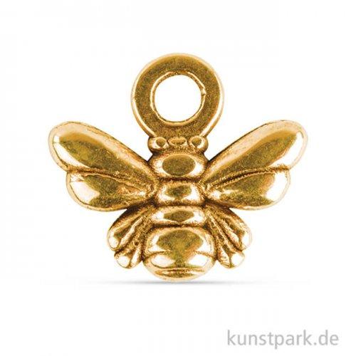 Metall Anhänger Mini - Biene, 4 Stück Gold