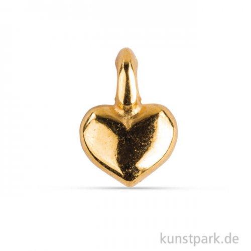 Metall Anhänger Mini - Herz, 6 Stück Gold