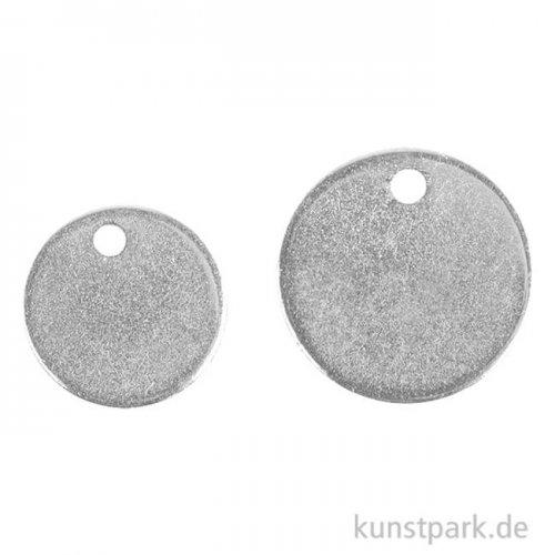Metall-Anhänger - Scheiben, Silber, 6 Stück, 2 Größen
