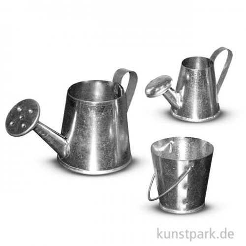 Metall-Kannenset Mini 3 bis 5 cm, 3 Stück
