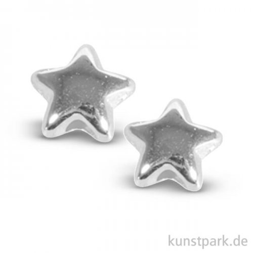 Metall-Perle Stern 5 mm, 6 Stück Silber