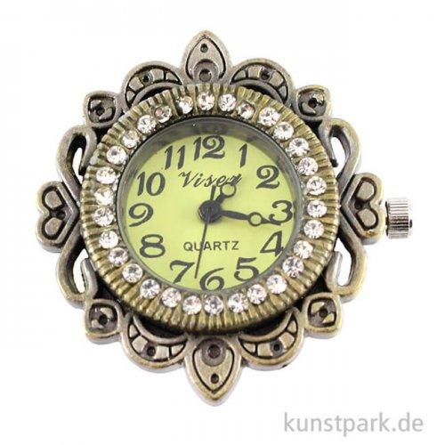 Metall-Uhrwerk Vintage Collection mit Gelenk & Zierrand, 3 cm Altgold