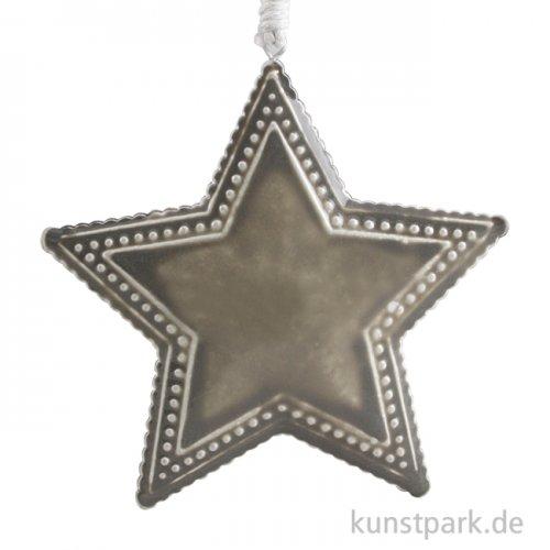 Metallanhänger grauer Stern mit Deco-Rand