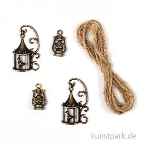 Metallcharms Vintage - Laterne, 4 Stück sortiert