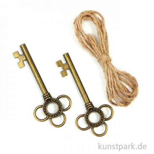 Metallcharms Vintage - Schlüssel, 2 Stück sortiert