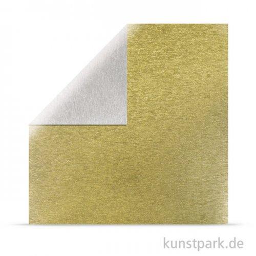 Metalleffekt gebürstet Silber-Gold - Scrapbookingpapier